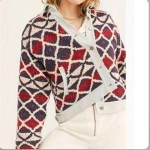 Free People Lakeside Denim Knit Jacket